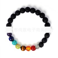 Wholesale copper beads 8mm for sale - Group buy 8mm seven chakra volcanic energy lava natural stone electroplating colorful Buddha beads Chakra Buddha bead bracelet bracelet braceletBracel