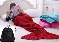 Wholesale snuggle blanket resale online - Knitted Tail Cotton and Woolen Crochet Snuggle Mermaid Blanket for Adult Teens All Seasons Sleeping Blankets ohd