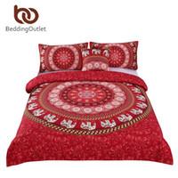 Wholesale boho bedding resale online - BeddingOutlet Red Mandala Boho Bedding Set Bohemian Elephant Messenger Bed Linen Soft Fabric Moroccan Bedclothes