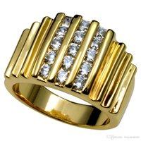 Wholesale wide band diamond wedding ring resale online - R117 Sz8 k Gold Filled Lab Diamond Wide Band Men Engagement Wedding Ring