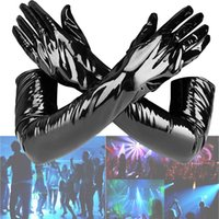 Wholesale women s leather opera gloves resale online - 58CM long Gloves sexy toys Dance play Cosplay Costume Black Faux Leather Gloves for women party opera zipper sexy Gloves Mittens