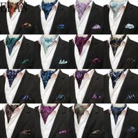 Wholesale men's ascot cravat resale online - Luxury Men s Ascot Set Vintage Paisley Floral Jacquard Silk Necktie Cravat Vintage Tie Handkerchief Pocket Square Set