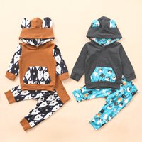 Wholesale girls cat outfit resale online - INS Clothes Baby Cute Outfit Toddler long sleeve hoodie Cartoon Cat bear print Pant Set Baby unisex Autumn Winter Clothing Sets M2940
