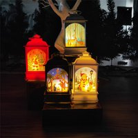 Wholesale painting outdoors resale online - Christmas Lantern Portable Mini LED Light Decoration Painted Lamp Halloween Christmas Outdoor Tree Hanging Light Patterns GWA1940