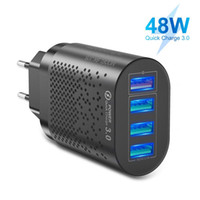 4 USB Port USB Charger 48W Wall Charger 1 USB QC3.0 Port Compatible with All Smartphones 5V 3A ABS+PC DZ11
