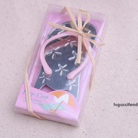 Wholesale starfish flip flops for sale - Group buy DHL FEDEX Beach theme Flip flop wine bottle opener with starfish wedding favor gift bridal shower guest gift LX8096