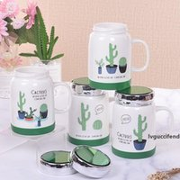 Wholesale panther girls for sale - Group buy 500ml Ceramic Coffee Mugs with Mirror Lid Set Pink Panther Cactus Food Grade PP Material Tea Cup Mug for Women Girl Student T200506