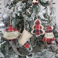 Wholesale christmas tree craft ornaments resale online - 4 Styles Christmas Qrnaments Small Xmas Tree Hanging Stockings Jingle Craft Pendant Party Gift Decoration LJJP674
