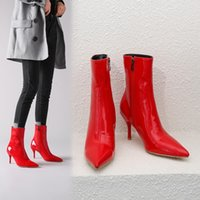Wholesale designer patent leather boots resale online - Sole The New Patent Leather Ankle Women winter Autumn Square High Heel Zipper Boots pointed Toe Woman Shoes white Red Black
