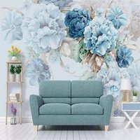 Wholesale photos background garden for sale - Group buy Custom size Custom d photo wallpaper Nordic fresh hand painted peony flower garden living room TV background wall painting d wallpaper