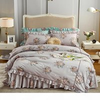 Wholesale girls princess bedding sets resale online - Princess Style Bedding Sets girls Beddingset cotton Bed Linen Duvet Cover Bed Skirt Pillowcase ruffles cover bed Sets