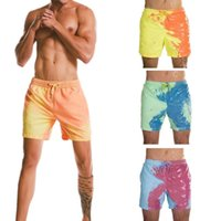 Discount men s board shorts New Design Beach Shorts That Magically Change Color In Water Men Swimming Trunks Swimwear Quick Dry Bathing Shorts Color changing shorts