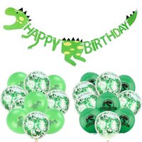 bannière enfants dessinés achat en gros de-1set Cartoon Dinosaur Ballon Latex baby shower Hanging Bannière d'anniversaire d'enfants Party Decoration Jungle des animaux sauvages Fournitures