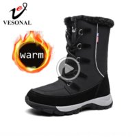 Wholesale plush snow boots for women for sale - Group buy 2020 winter waterproof Warm snow boots women snow boots Women s shoes for woman booties Mid calf warm fur plush velvet Russia big size