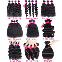 Wholesale human hair extension brazilian wave resale online - 9A Mink Brazilian Human Hair Bundles Unprocessed Brazilian Straight Body Wave Loose Wave Kinky Curly Deep Wave Human Hair Extensions