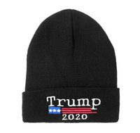 Wholesale usa winter cap for sale - Group buy Donald Trump Knitted Hat Adult Election Cap USA Flag Winter Embroidery Cap Party Favor Gift DHL Shipping ZZF2226