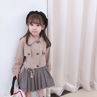 Discount canvas trench INS Designer style kids trench coat outfits fashion new children lapel plaid patchwork khaki short trench coat pleated skirts 2pcs sets