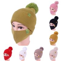 Wholesale winter face masks for sale - Group buy DHL Shipping Womens Girls Knit Beanie Cap with Face Mask Set Soft Warm Lined Winter Ski Pompom Hat Outdoor Cycling Colors Kimter X776FZ