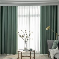 Wholesale 90 inch shower curtain resale online - Modern solid green blackout bedroom curtain for kitchen living room high density Grey high shade shower curtain DGZJM1911