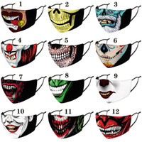Wholesale halloween face mask resale online - Halloween Christmas clown face mask designer fashion face masks printed facemask dustproof windproof Party Masks adult with PM2 filters