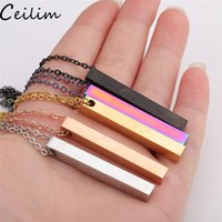 Wholesale gold buyers resale online - Polished Stainless Steel Pendant Necklace New Fashion Colors Rainbow Black Gold Solid Blank Bar Charm Pendant For Buyer Own Engraving