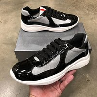 patent leather blue shoes achat en gros de-New Men America Cup Designer Chaussures de sport Baskets en cuir verni noir plat bleu Mesh Chaussures à lacets Casual Chaussures Nylon Runner avec la boîte