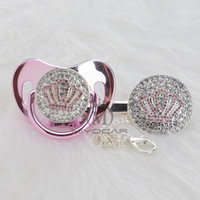 MIYOCAR Gold beautiful GOLD bling pink crown pacifier and pacifier clip set BPA free dummy bling unique design APCB-1