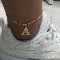 Wholesale alphabet pendant for bracelet resale online - A Z Initial Letter Anklets For Women Gold Chain Pendant Alphabet Anklet Bracelet Boho Foot Jewelry Gift Women Accesorios Mujer Swy sqcRam