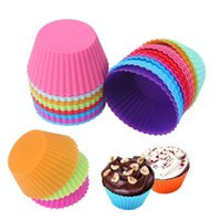 Wholesale cupcake liner resale online - 7cm Silicone Muffin Cupcake Moulds cake cup Round shape Bakeware Maker Baking Mold Colorful Tray Baking Cup Liner Molds OWD2474