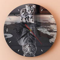 Wholesale white digital wall clock for sale - Group buy White Tiger Motivational Wall Art Home Decor Clock Reflection Of Soul Cat Reflection Tiger Wall Watch