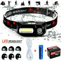 90°Degree Adjustable USB Rechargeable LED Headlamp XPE COB Outdoor Camping Hiking Headlight Torch 3Modes Flashlight Waterproof Portable