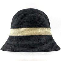 Wholesale strawhat resale online - Summer Fashion Women Straw Hat Lady Summer Sun Hat Visor Cap Panama Style Bucket Cap Strawhat Beach Hat Outdoor Girl Cap bbymBI garden2010