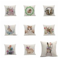 Discount stylish homes decor Easter Rabbit Pillowcase Stylish Simplicity Bunny Egg Pillow Cover Sofa Nap Cushion Throw Pillow Case Festival pattern Home Decor WQ497