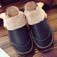 Wholesale leather bedroom slippers resale online - Women s Slippers Genuine Leather Slippers Home Velvet Short Plush Slippers Soft Comfy Waterproof Indoor bedroom Shoes for Woman Y201026