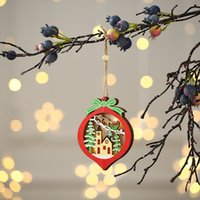 Wholesale christmas stars trees for sale - Group buy Christmas Lighted Wooden Ornament Hollow Wooden Glitter Pendant Xmas Tree Car Tree Star Shaped Pendant with LED Light GGE1934
