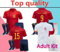 Wholesale spain soccer kits resale online - 2020 spain adult soccer jersey full kits PACO ALCACER ASENSIO MORATA ISCO INIESTA THIAGO adult Football shirt kits kits