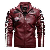 Wholesale leather jacket motorcycle race for sale - Group buy Winter Men Plus Velvet Warm PU Motorcycle Racing Suit Men s Leather Jacket Hommes Veste EU Size