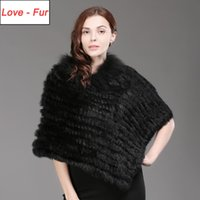 Wholesale real fur wraps scarves resale online - 2020 Hot Sale Winter Ladies Genuine Real Knitted Fur Poncho Women Fur Wrap Female Party Pullover Scarf