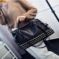 Wholesale tote modern resale online - Women Modern Punk Pu Leather Cross Body Rivet Top Handle Shoulder Bags Hobo Tote Satchel Handbags For Lady Black