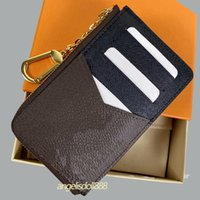 Ladies men woman wallets purses classic brown canvas letters print genuine leather coin purse zippy wallet credit card holder key pouch top quality bag