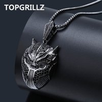Wholesale black panther necklace resale online - TOPGRILLZ Hip Hop Black Panther Iced Out Pendant Necklace Men Jewelry Gifts With Box Chain quot Q1107