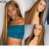 Wholesale staright hair resale online - KGBL Highlight Staright T part Lace Front Human Hair Wigs With Baby Hair Brazilian Density Non Remy Wigs Medium Ratio