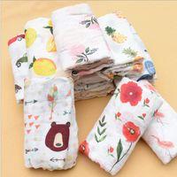 Wholesale newborn bath robes resale online - Infant Breathable Blanket Lemon Fruit Animal INS Baby Swaddle Baby Infant Soft Bath Towel Wrap Baby Newborn Bathroom Towels Robes GWB2269