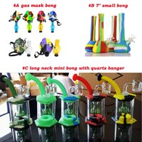 Wholesale small portable water bong for sale - Group buy Silicone small bong Percolators Perc Removable Straight Water Pipes coloured Portable foldable Smoking Water bongs silicone water bongs