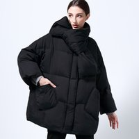 Wholesale parka scarf resale online - Winter Women New with Scarf White Duck Coat Loose Warm Parkas Female Medium Long Oversived Down Jacket