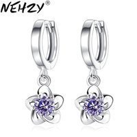 Wholesale plum blossom earrings for sale - Group buy NEHZY sterling silver new woman new fashion brand jewelry luxury cubic zirconia Drop simple plum blossom peony earrings MM