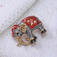 Wholesale scarves pin for for sale - Group buy Enamel Paint Oil Animal Brooch Elephant Alloy Pins Corsage Accessories Suits Collar Jewelry Scarf Buckle For Women Female Gift bbyKIl