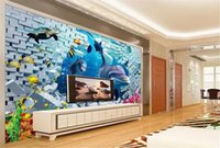 Wholesale dolphin promotions for sale - Group buy Dolphin Wallpaper Promotion Underwater World Dream D Stereo Scenery TV Background Wall Decoration Mural Wallpaper d Wallpaper