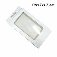 Wholesale cell phone accessory packaging box online – custom 20 White x17x1 cm Kraft Paper Cell Phone Case Protector Packing Box Window Plain Cardboard Hanging Packaging Box for Accessories