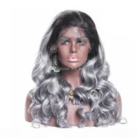 Wholesale prices for ombre hair for sale - Group buy Factory price virgin grey ombre human hair wigs side part lace front wig body wave grey front wigs full lace wig for sale